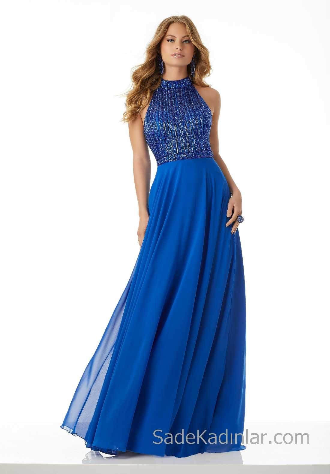b37d021922e61 2018 Gece Elbiseleri Şık Abiye Modelleri Saks Mavi Uzun Şifon Boncuk  İşlemeli