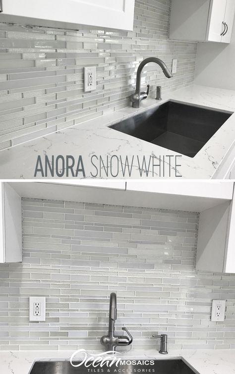 Anora Snow White Mosaic Glass Tile In 2020 Glass Backsplash