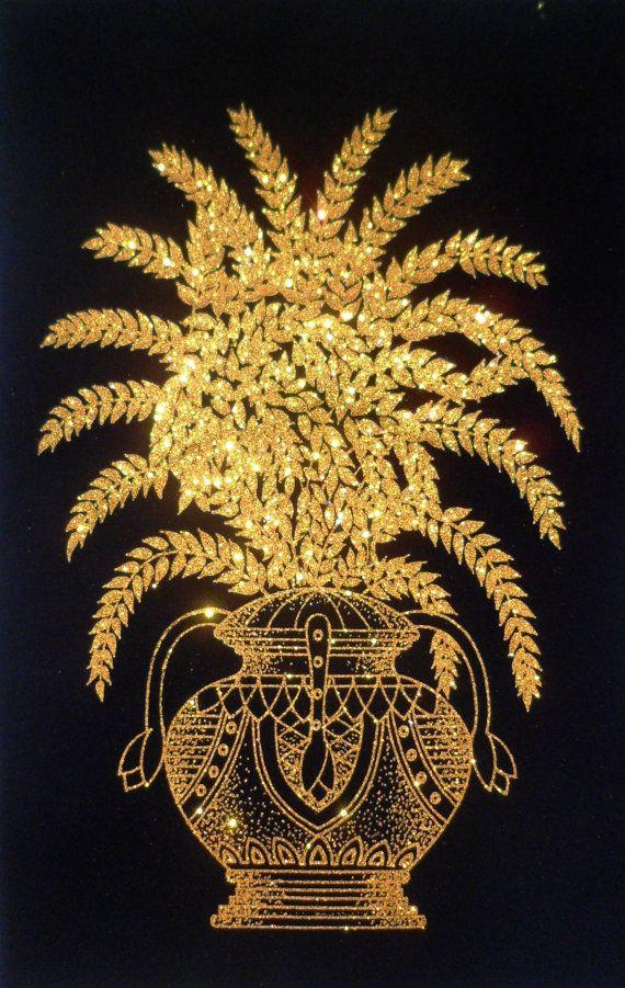 Sri Lanka Ceylon Hand Printed Glitter Canvas Art