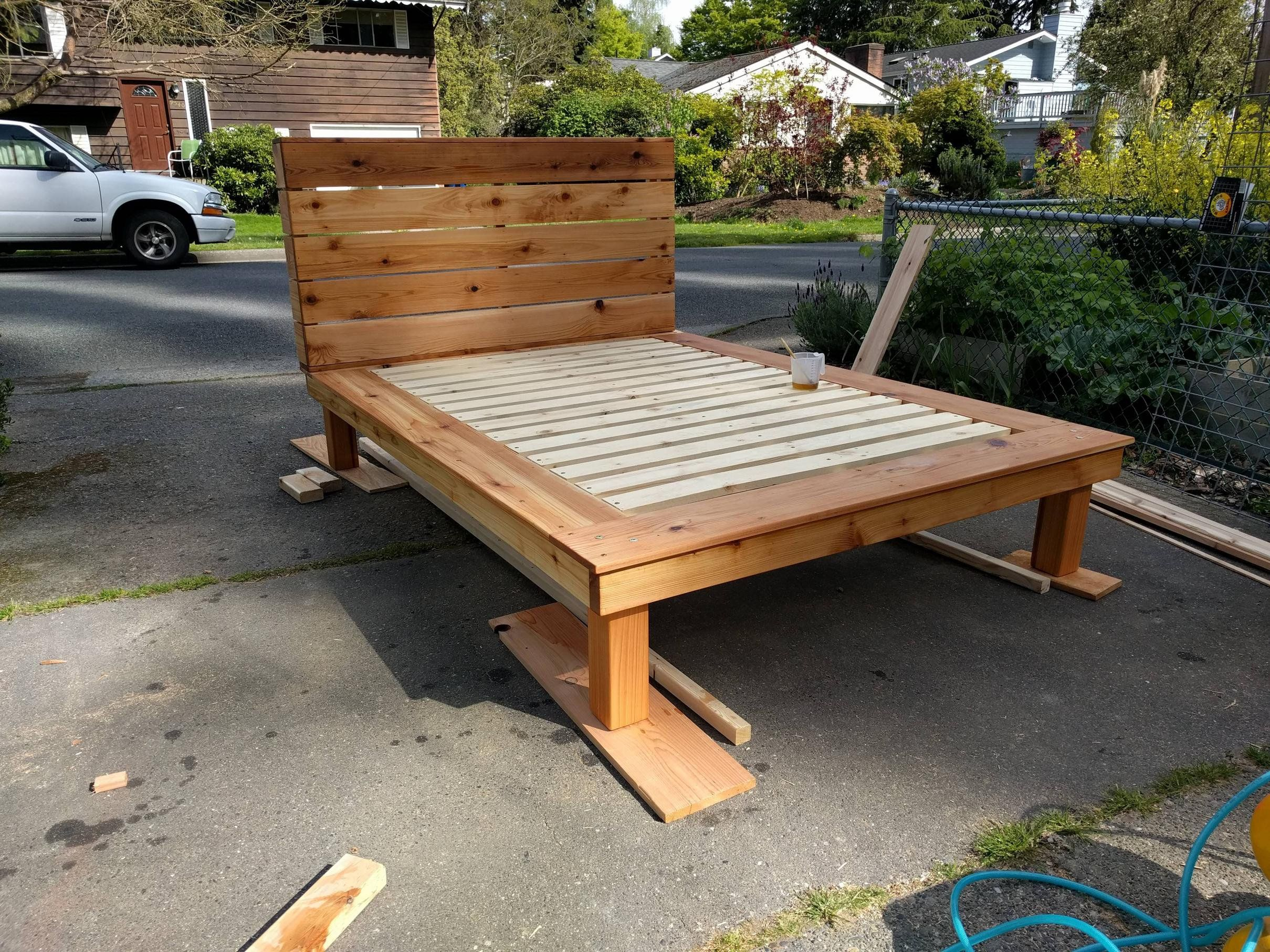 Made a Cedar bed frame woodworking Woodworking plans