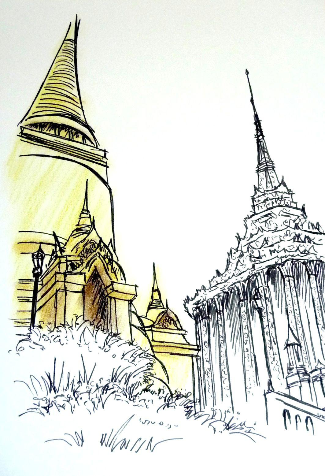 Tailândia, em giz pastel seco e nanquim sobre canson