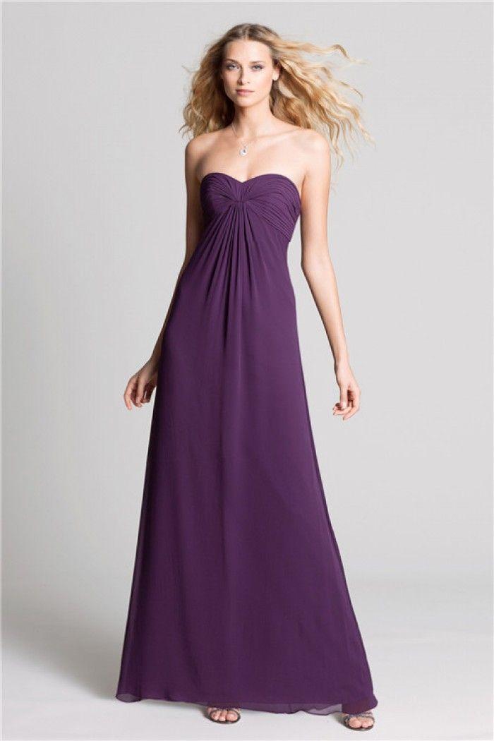 Strapless Empire Waist Long Purple Chiffon Maternity Bridesmaid ...