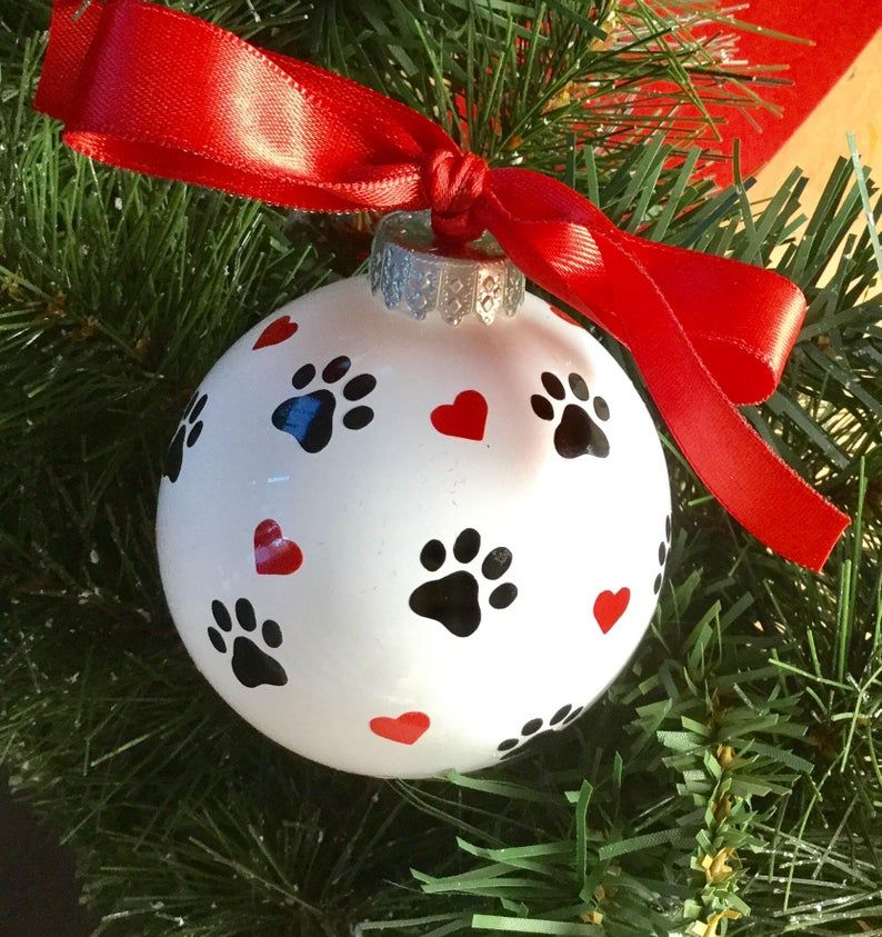 Dog Paw Print and Hearts Christmas Ornament Personalized