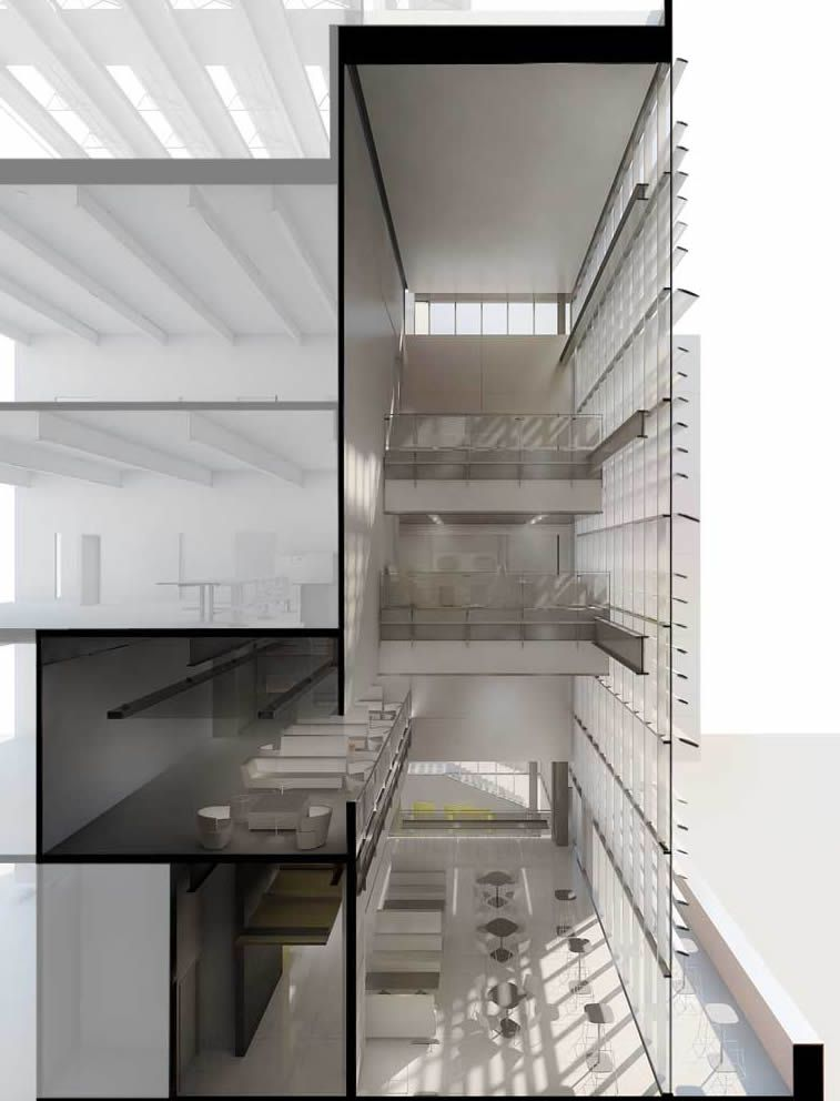 Figure 5 | Atrium And Cafe Section Showing Curtain Wall | Courtesy Of  SmithGroupJJR