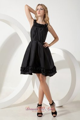 Black A-line / Princess Scoop Little Black Dress Mini-length Taffeta - US$105.49 ✿  ✿  ✿