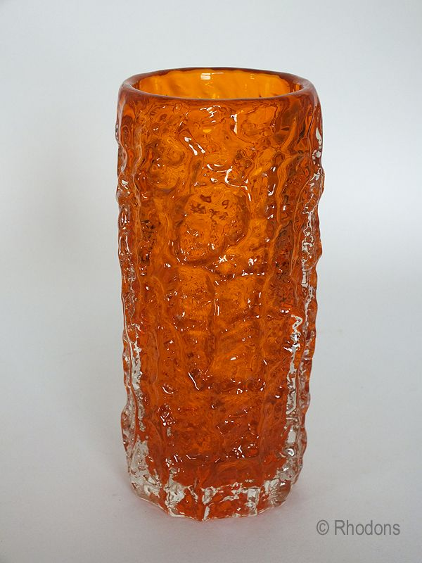 Whitefriars Glass Bark Vase Beautiful Whitefriars Tangerine Orange