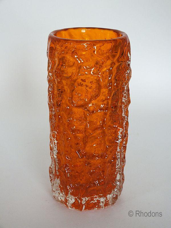 Whitefriars Tangerine Glass Bark Vase Geoffrey Baxter Design