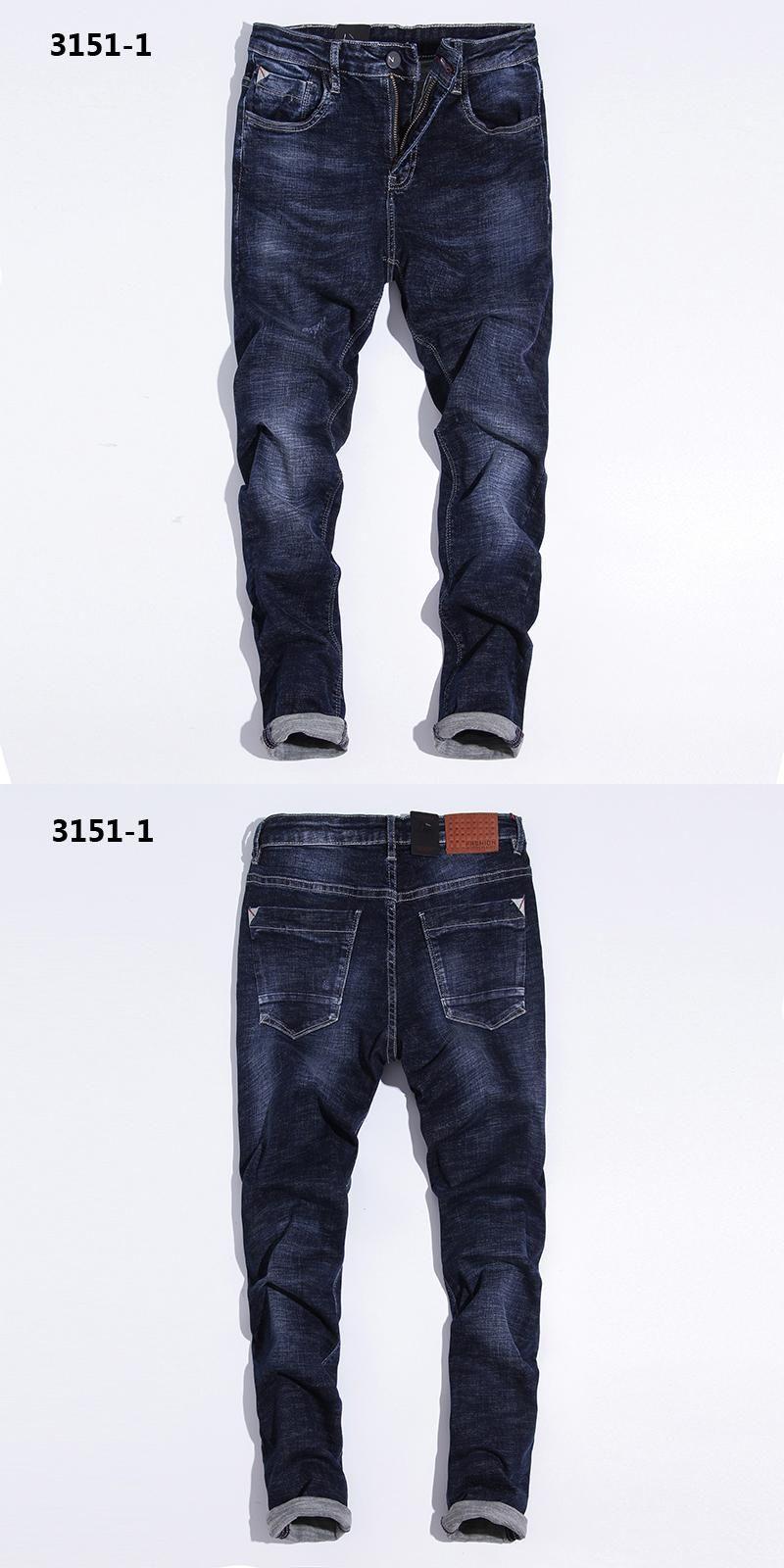 6159849327f15 28-38 Distressed Model Scratch Jeans Uomo Simple Design Stretch Jeans Men  Pants Brand Mens Blue Jeans Masculino Elastic 3151-1