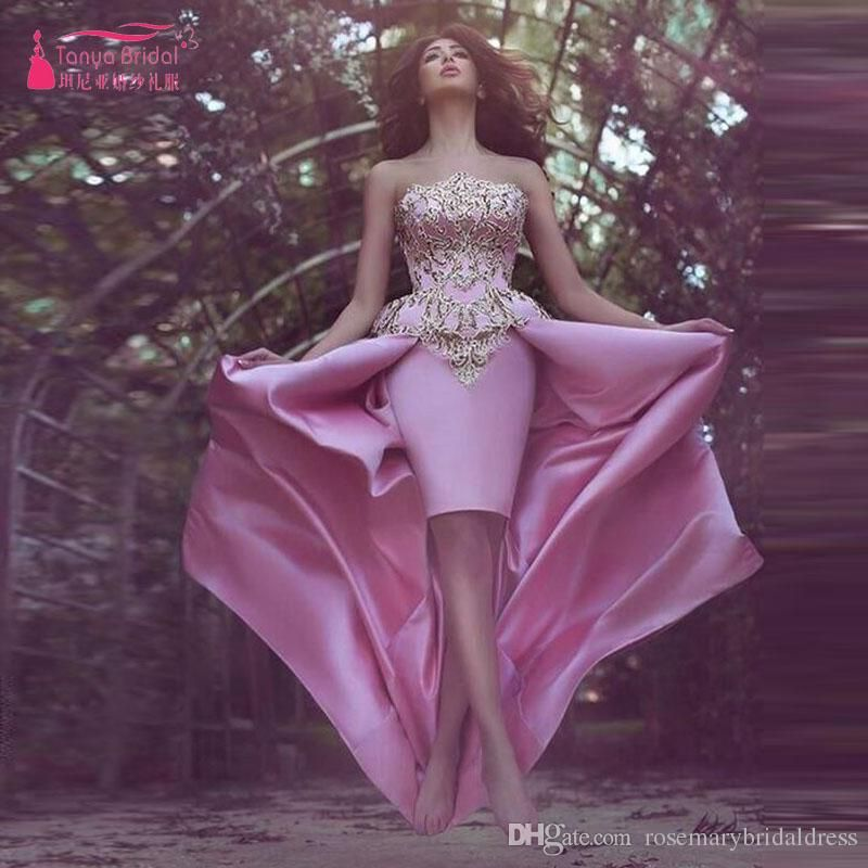 Strapless Gorgeous Elegant Prom Dresses African Sheath Short Dress With Overskirts Pink With Gold Appliques Elegant Evening Party Gowns Plus Size Prom Dresses Uk Plus Size Short Prom Dresses From Rosemarybridaldress, $160.81| Dhgate.Com
