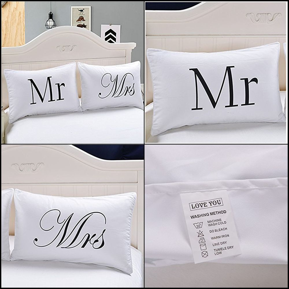 Queen Pillow Cases Case Mr And Mrs Couples Set Valentines Day