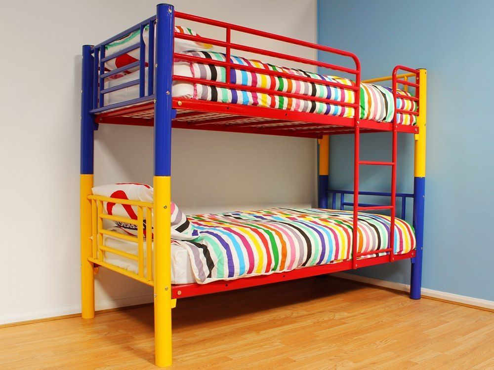Childrens #rainbow #metal Bunk Bed Kids Twin Sleeper Bed #frame With 2  Mattresses, View More On The LINK:  Http://www.zeppy.io/product/gb/2/152219752954/