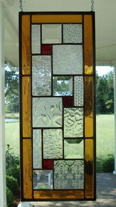 Stained glass window panel with herrer a y forja for Ladrillos falsos decorativos