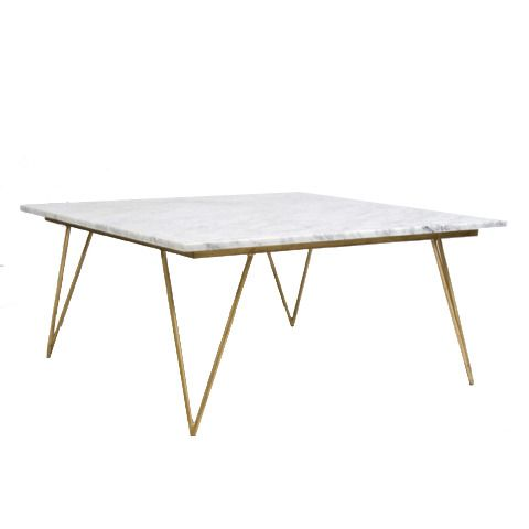 Neal Gold Leaf And White Marble Coffee Table Worlds Away - Marble coffee table gold legs