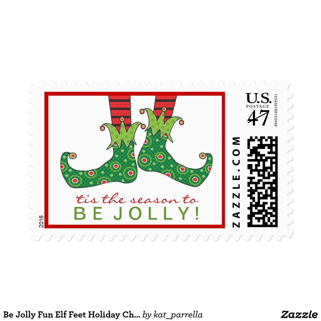 Be Jolly Fun Elf Feet Holiday Christmas custom Postage Stamps.