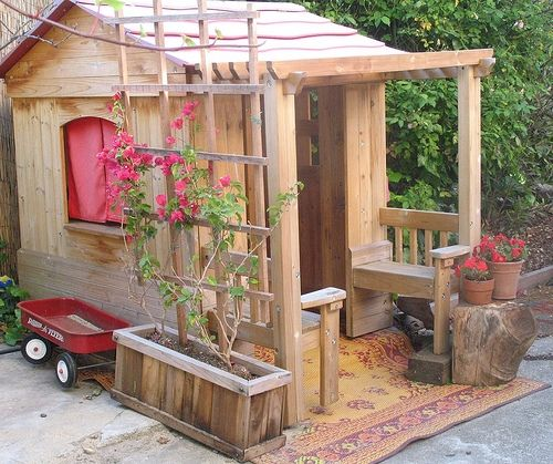 Pergola And Sitting Benches Outside Kids Playhouse Wooden Outdoor Playhouse Play Houses Playhouse Outdoor