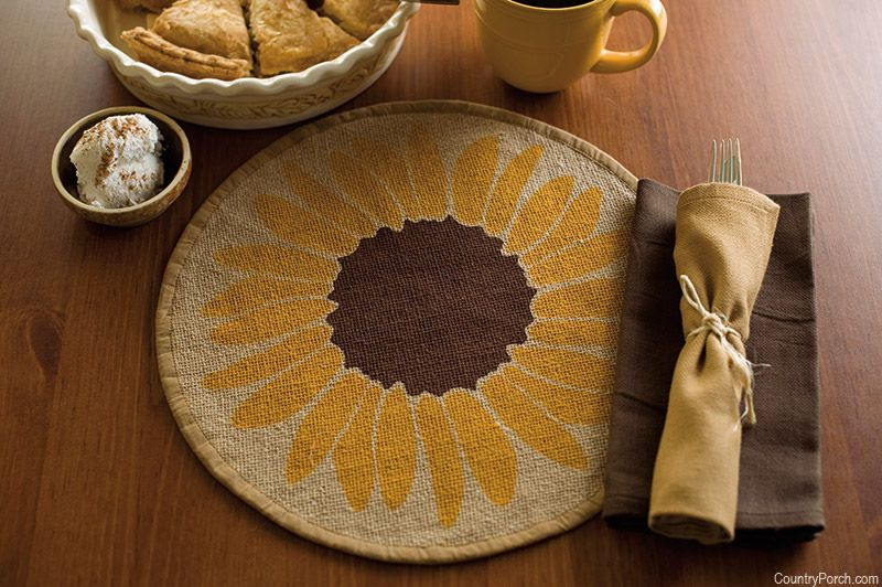 Victorian Heart Sunflower Tablemat Table Mats Kitchen Style Country Porch