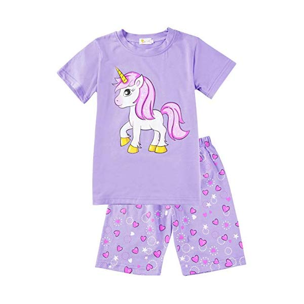 Little Hand Girls Pyjamas Sets Unicorn Print Girls Pjs Long Sleeve Cotton Tops Shirts /& Trousers for Age 1-7 Years