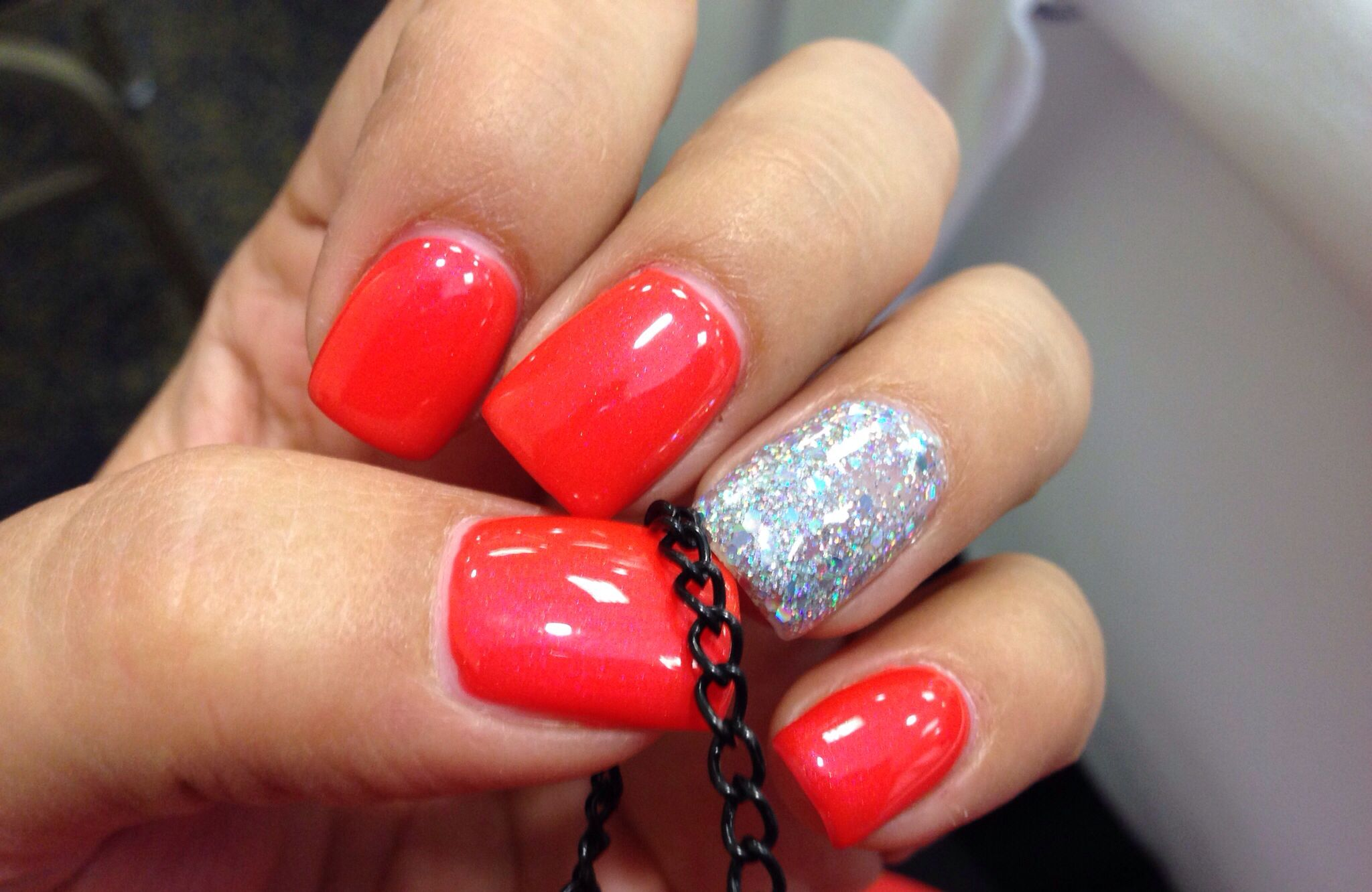 Bright orange nails with glitter gel   Nail Files   Pinterest ...