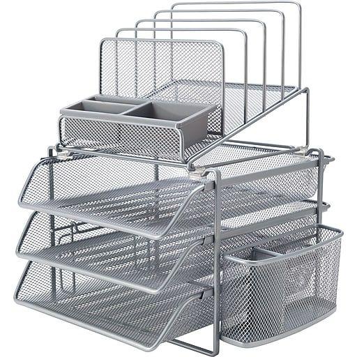 All-in-One Wire Mesh File Organizer, Silver (27642) | Desk ...