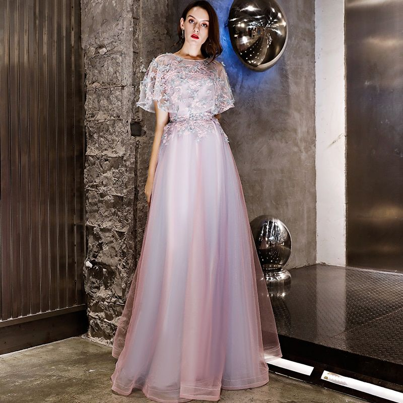 Light Purple Prom Dresses Girls Robe Elegant Mint Green Lace Appliques A  line Tulle Scoop Long 64763f67e302