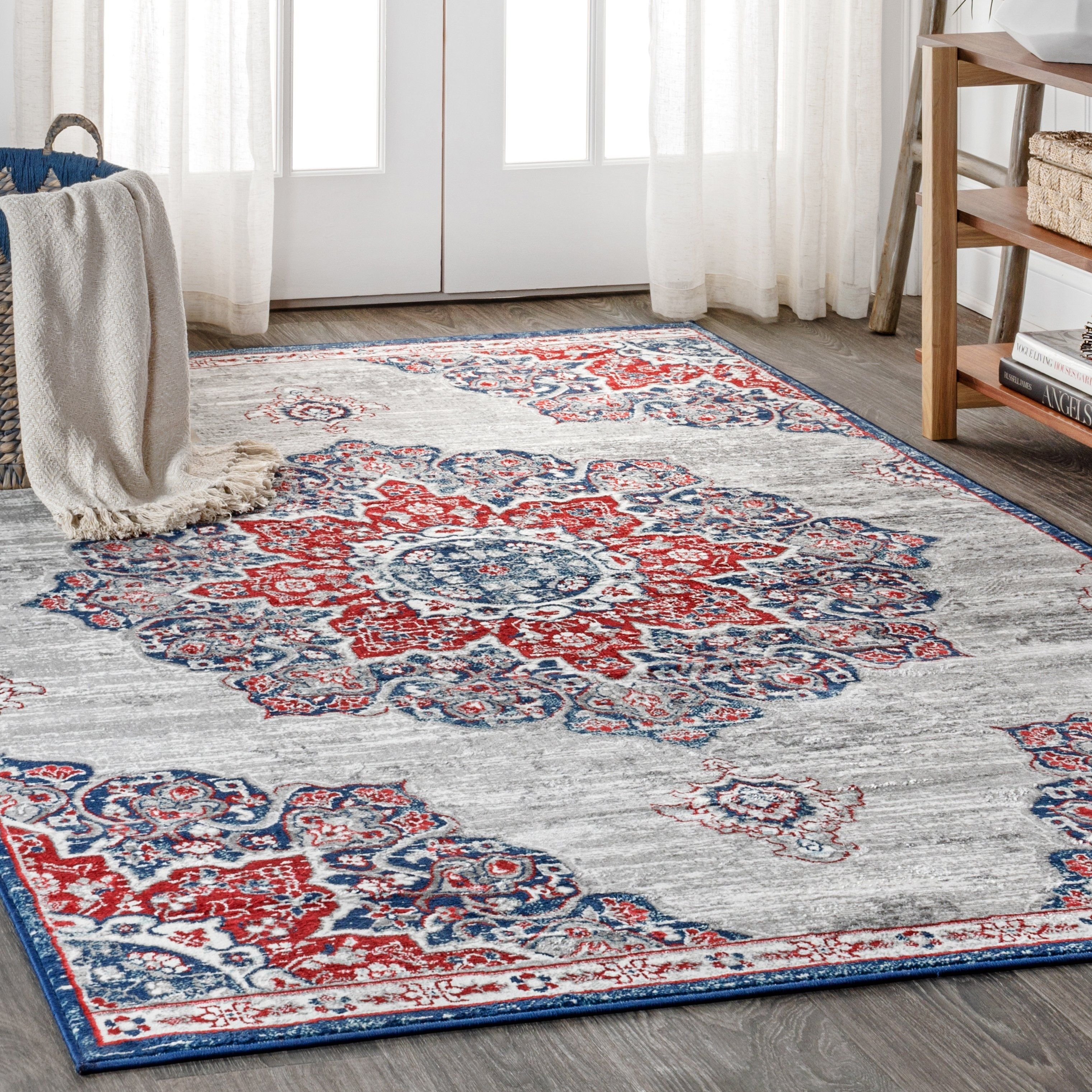 Jonathan Y Modern Persian Vintage Medallion Navy Red Distressed Area Rug 2 3 X 8 Navy Red Blue Rugs Area Rugs Pink Rug