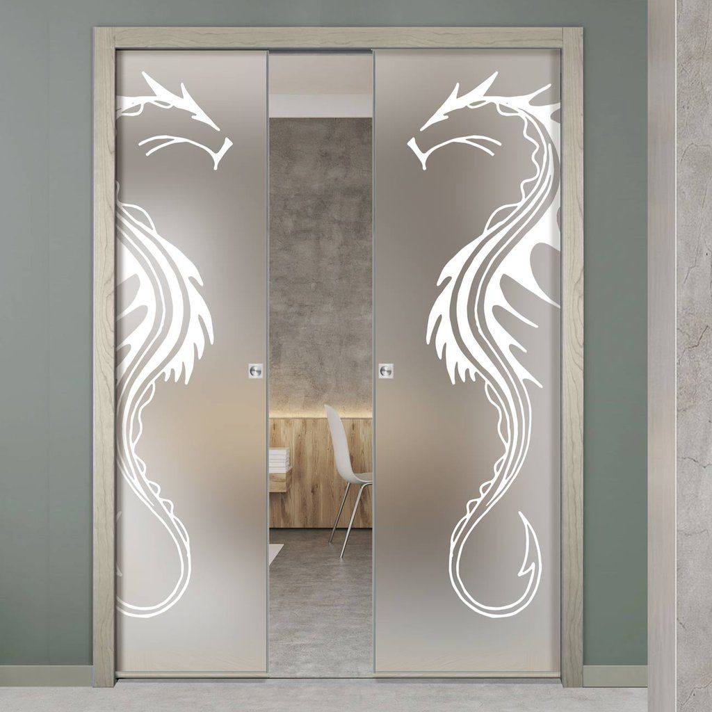 Eclisse 10mm Dragon Sandblasted Design On Clear Or Satin Glass Double Pocket Door Pocketdoor Sliding Etched Glass Door Glass Pocket Doors Sliding Glass Door
