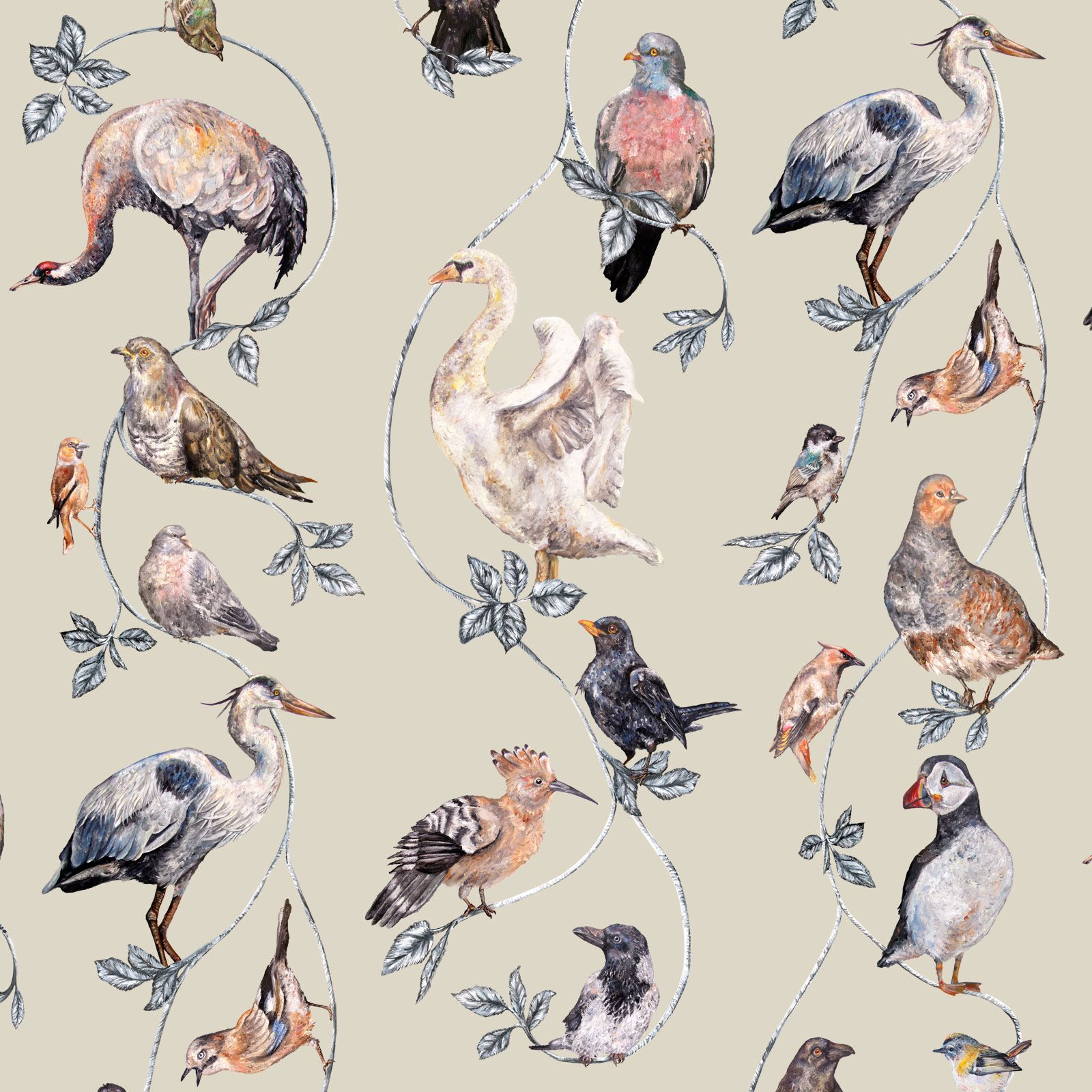 Flights of Fancy Cream Wallpaper
