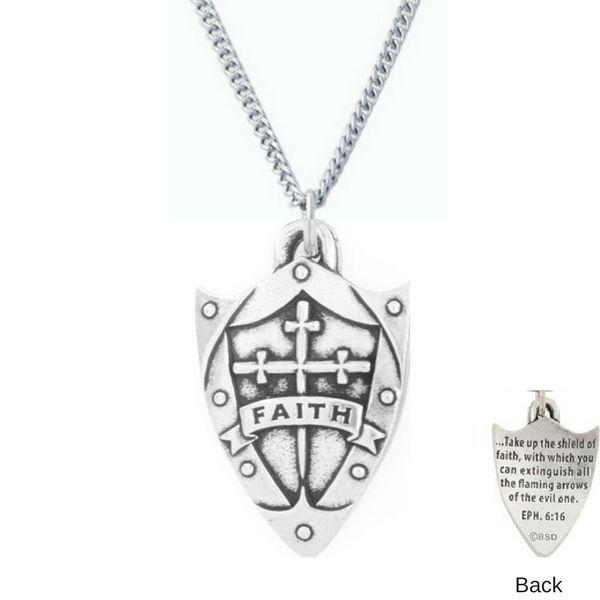 Fine pewter faith shield necklace ephesians 616 pewter aloadofball Images