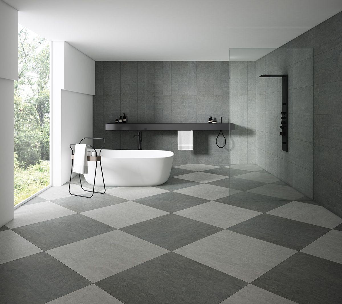 Grey Bathroom Floor Tile Creating A Statement In This Bathroom Space Bodenfliesen Bad Kacheln Fliesenboden