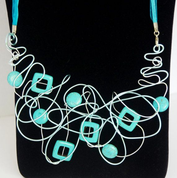 Turquoise beaded and pale blue wire aluminium  twist Statement stunner necklace