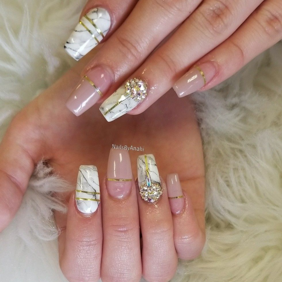 Nailsbyanahi Coffin Full Acrylic Nails With Nude Gel Polish With