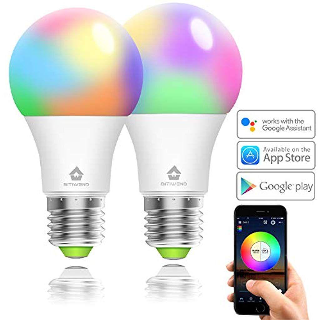 Smart Led Lampe 2er Pack Wlan Mehrfarbige Dimmbare Led Gluhbirne E27 Kompatibel Mit Alexa Und Google Assistant 350 Lumen App Fernbe Led Gluhbirnen Gluhbirne E27