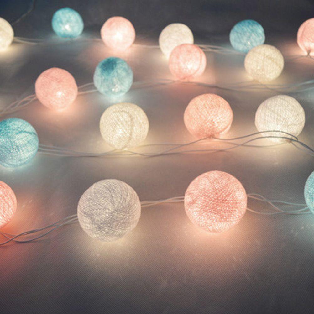 20 LED Tecido de Algodão Bola Luzes Cordas de Fadas Festa de Casamento Do Feriado Decorações Home Lâmpada Lâmpada Luzes Coloridas Com US Plug em Luz CONDUZIDA Da Corda de Luzes & Iluminaçao no AliExpress.com | Alibaba Group
