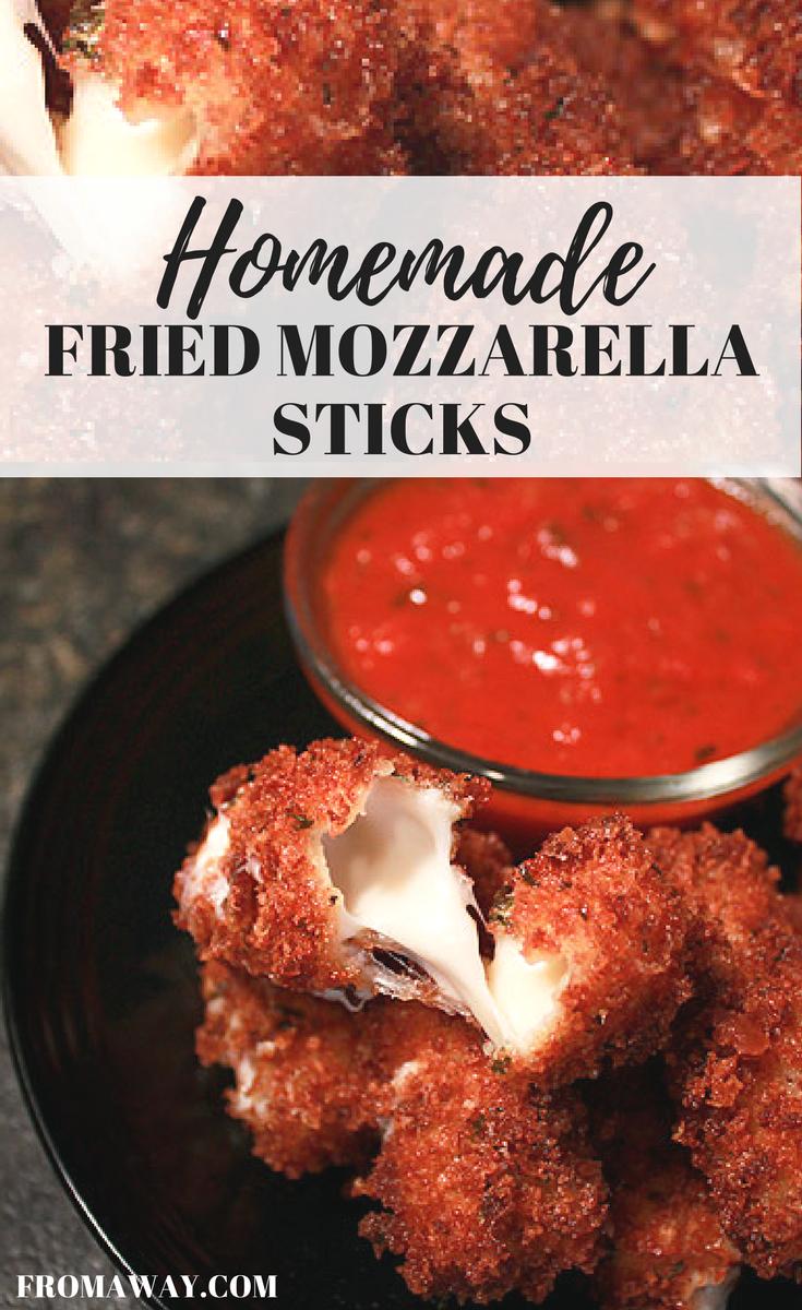 Homemade fried mozzarella sticks with marinara dipping sauce.