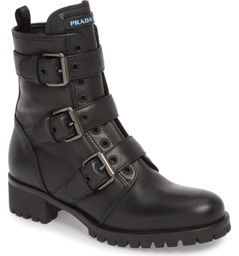 Prada Triple Buckle Combat Boot (Women