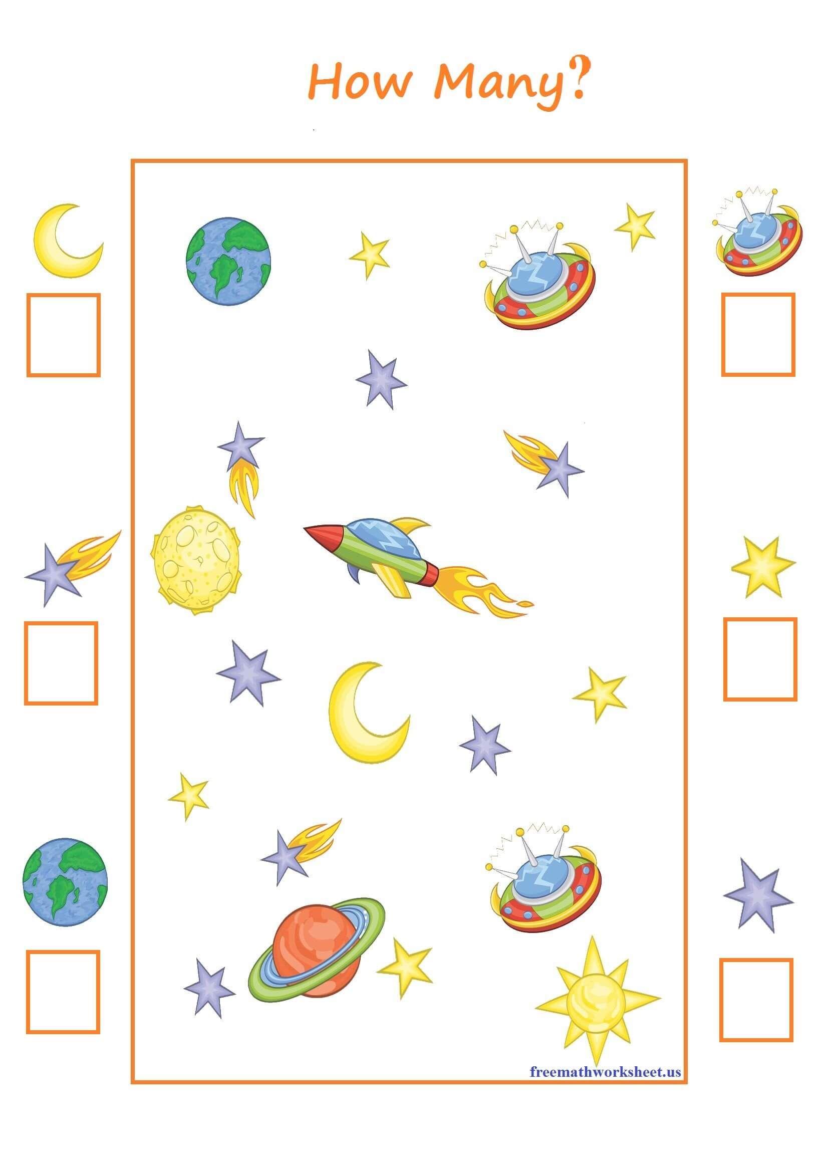 Space Counting Free Math Worksheets Space Theme Preschool Math Activities Preschool Space Activities Preschool [ 2339 x 1653 Pixel ]