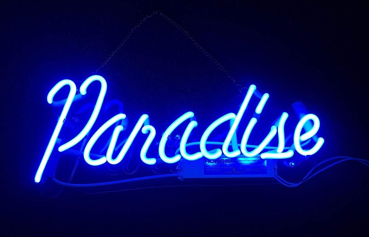 Paradise aesthetic , blue , neon lights , glow , words