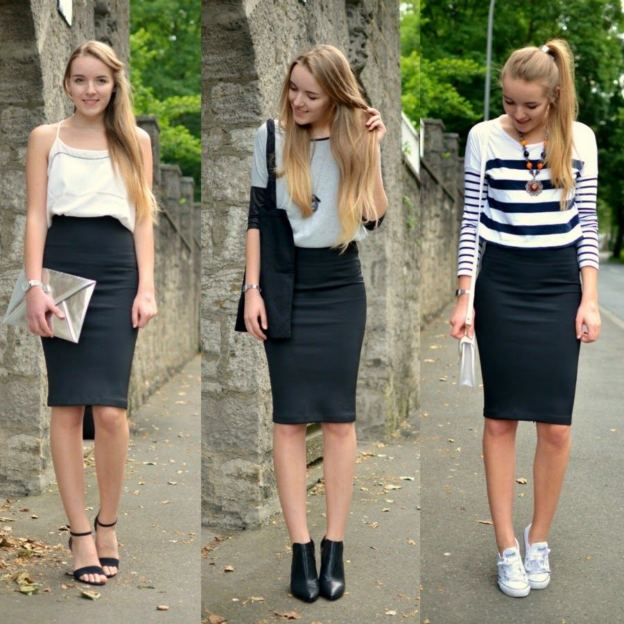 2a5c259e ONE SKIRT THREE STYLES - Vintage life en Vogue chic - casual - sporty chic  black midi pencil skirt