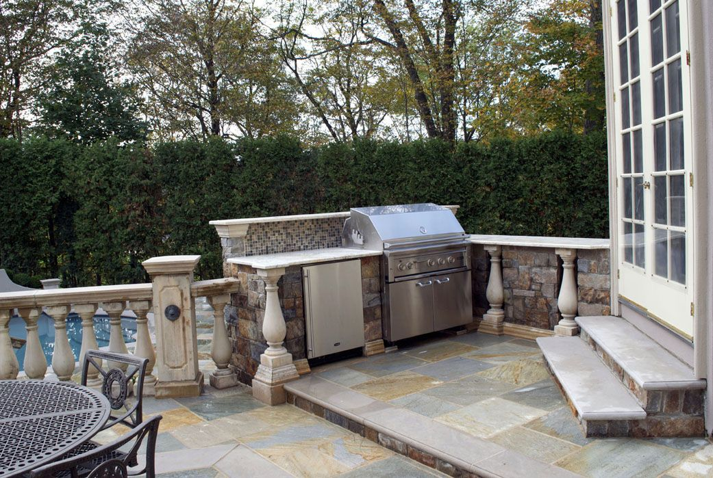 Brick And Limestone Outdoor Bar Grill Ideas Saddle River NJ