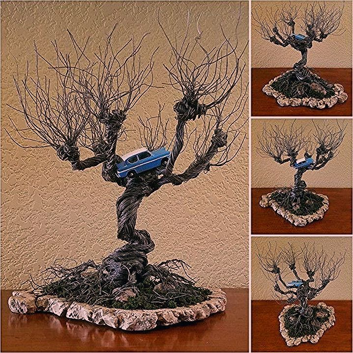 Photo of DIY Harry Potter Whomping Willow wire tree with flying Ford Anglia