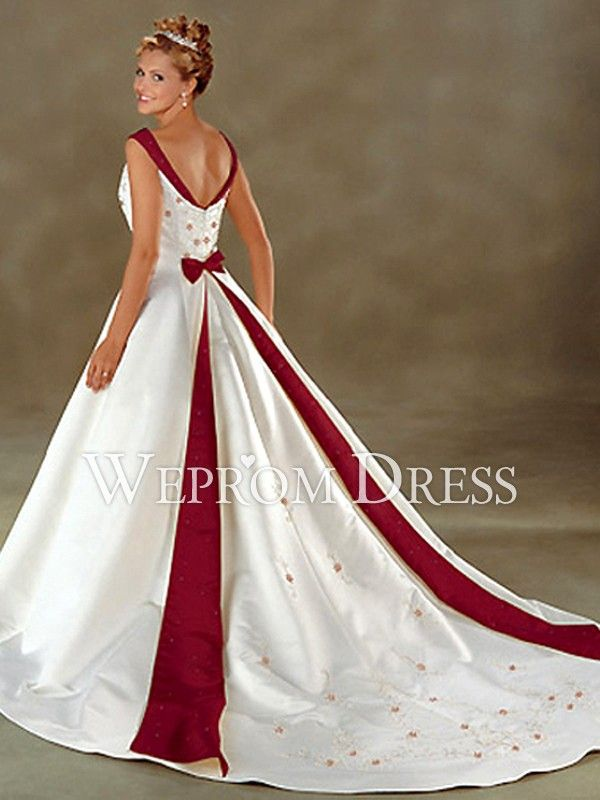 Zipper Applique Bow Tie Cathedral Train Sleeveless V Neck A Line Styles Plus Size Wedding Dresses Colored Wedding Dresses Red Wedding Dresses Wedding Dresses