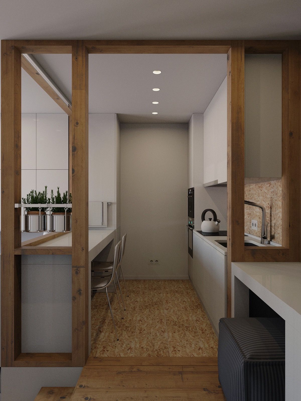 framed by wood stencils with a cork inlet and floor the kitchen is a feat small apartment - Cork Apartment Design