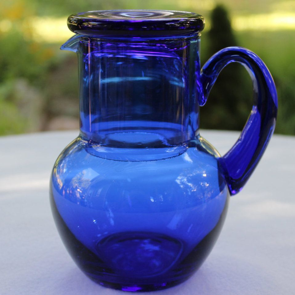 Cobalt Blue Bedside Glass and Water Carafe by objectsofvirtu on