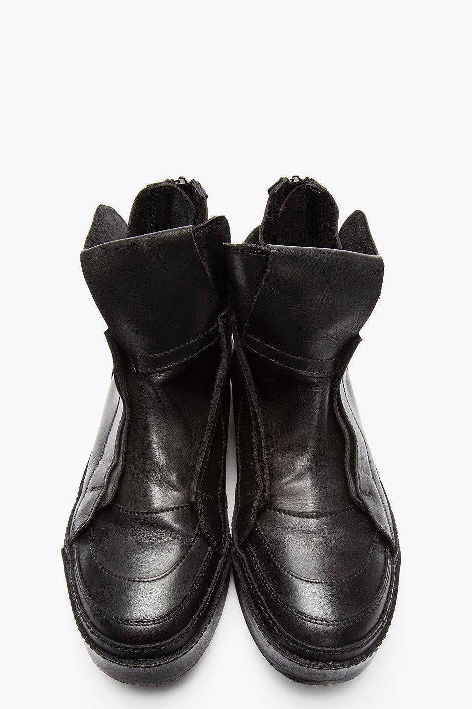 JULIUS Black leather mid-top sneakers