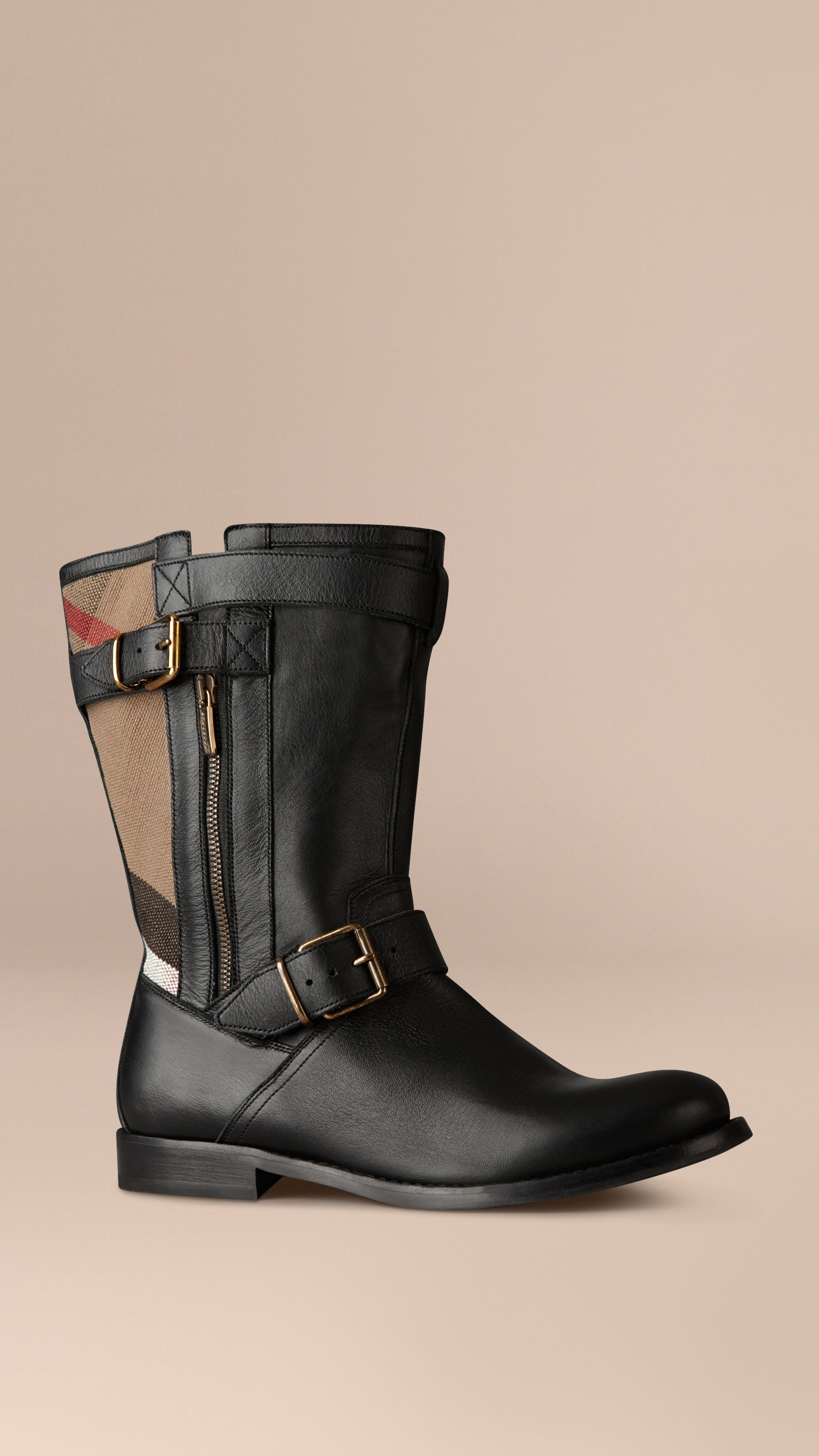 Check Detail Belted Leather Boots Black   Burberry Canada ff326d55b65
