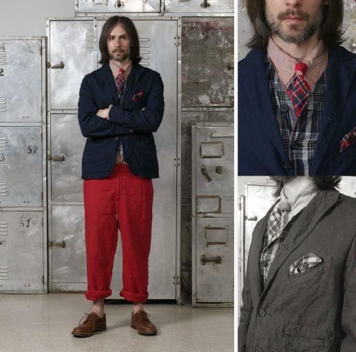 Engineered Garments Fig. 3: Conductor Jacket in Indigo over Indigo Light Weight Denim, Tab Collar Shirt in Pink/Purple Stripe Broadcloth, Reversible Vest in Ind...