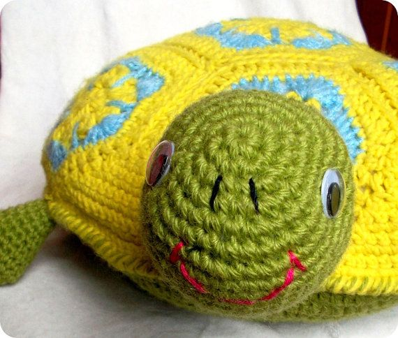 Crochet Pillow Turtle Colorful Turtle Pillow Excellent Gift