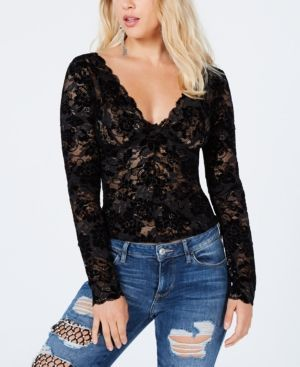 f2d325fadf Guess Drea Long-Sleeve Lace Top - Black XS | Products in 2019 ...