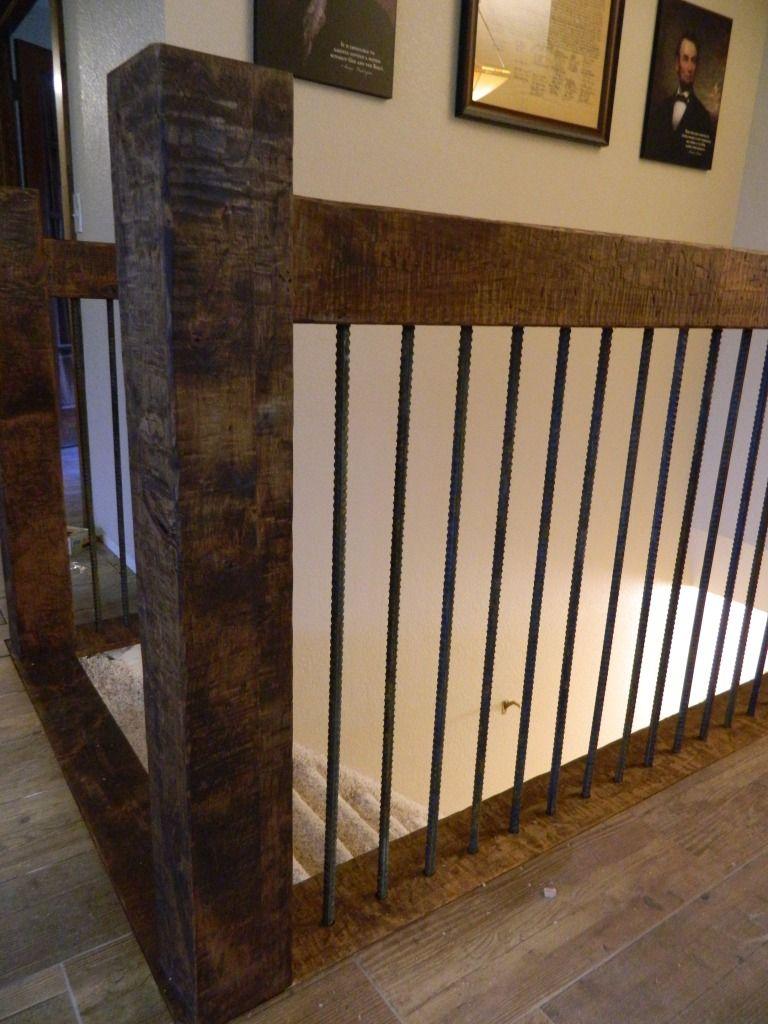 Railing Distressed Knotty Alder With Rebar Spindles Rustic | Knotty Alder Stair Railing | Distressed | Diy | Interior | Indoor | Wood