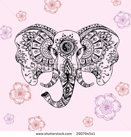 Vector Abstract Elephant In Indian Style MehndiVector Hand Drawing